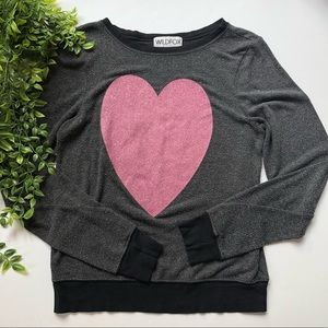 Wildfox Glitter Heart Sweater XS